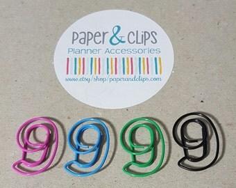 Number 9 Bookmark or Paper Clip Nine