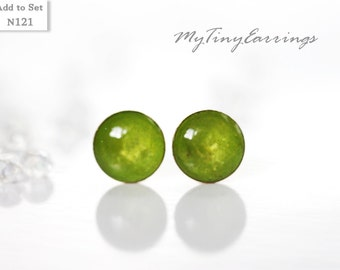 Green Glossy Stud Earrings Mini Tiny 6mm Stainless Steel Gold Plated Posts plus High Quality Epoxy Resin 121