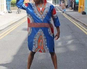 African Oversized Hoodie - Omar Oversized Hoodie - Dashiki Hoodie - African Wax Print - Festival Hoodie - Wax Hoodie
