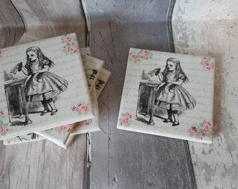 "Alice in Wonderland ""Alice"" Handmade Decoupage Ceramaic Coaster"