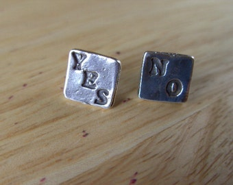 Sterling Silver Stud Earings YES NO Square Earings Hand Made Unique 925 Silver