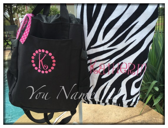 WEEKLY DEAL! Monogrammed Beach Towel & Tote Combo