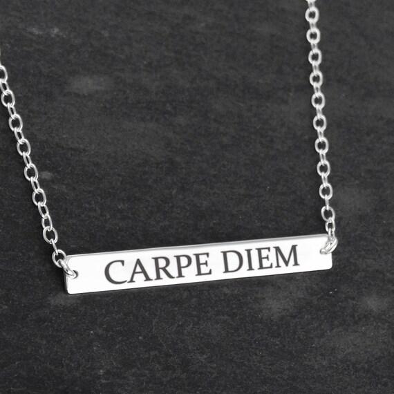 carpe diem necklace 925 sterling silver seize the day bar