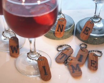 Rustic Wood Wine Glass Charm Set