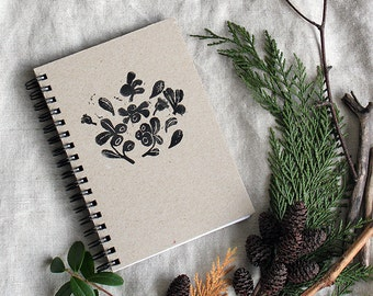 Spiral Notebook // A6 - Lino Print with Cowberries  // Hand Printed - Linoleum Block