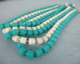 Vintage 1960s MOD plastic Bead Necklace 60s Bright Blue and White Choker Necklace