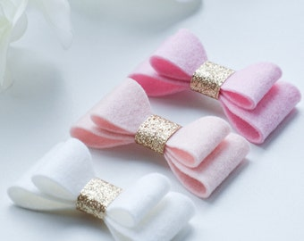 LILY HAIRBOW SET • 100% Wool felt bows attached to hairclips/headbands •