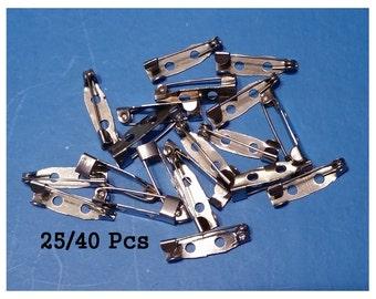 Silver Brooch Back Pins, 20mm, DIY Brooch Back Clasp, Metal, 25 or 40 Pcs (C-003)