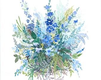 A4 floral watercolour original art print REQEUST PERSONALISED BOUQUET