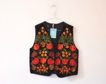 Vintage Guatemalan velvet hippie jacket vest S
