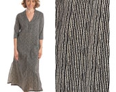 20% OFF Woman dress, beige&black stripes maxi dress, summer woman Dresses, long sleeve, Maxi dress with sleeves, Shift dress, cotton