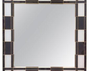 Black and White Glass Mirror. Mirrored