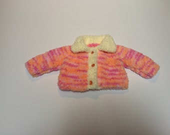 Peach swirl sweater (matchiing hat available)