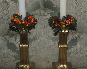 lot of 4 vintage MILLINERY ripening BERRY (240 berries!) & LEAF candle rings