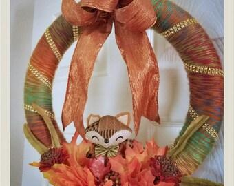 Autumn/fall yarn wreath-14 inches