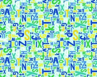 Crayola Alphabet Riley Blake, blue, knit, Colorfully Creative, cotton spandex, licensed, jersey,  green
