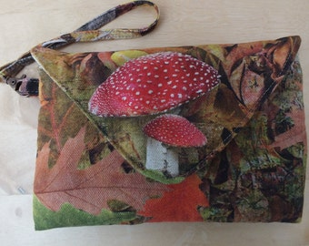 Autumn Fall Toadstool Clutch Bag, Wristlet, Purse, Pouch, Phone Wallet