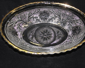"""Vintage Anchor Hocking Sandwich Glass """"Double Sandwich"""" Oval Clear Crystal Serving Bowl With Gold Trim"""