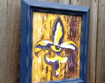 Tiger eye Fleur de lis art print, LSU Tigers, Purple and Gold,  Gift for him, Man cave decor, Graduation gift, Louisiana art, Baton Rouge