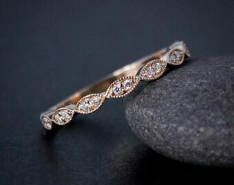 Rose Gold Wedding Band - Double Diamond Milgrain Leaf Wedding Band - Boho Bride