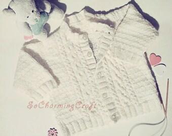 White baby cardigan 12 Months baby girl cardigan baby boy cardigan baby sweater baby clothes infant baby jacket toddler girl sweater