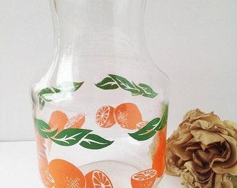 SALE Vintage Orange Juice Glass Container / Orange Juice Carafe / Vintage Orange Juice / Vintage Orange Juice Pitcher / Juice Carafe