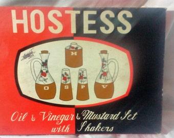 Retro Boxed Hostess set - Vinegar, Oil, Mustard and Salt and Pepper