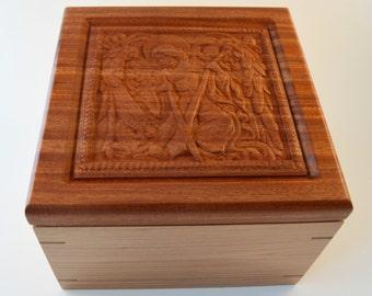 African Mahogany and Cherry wood Cherub box