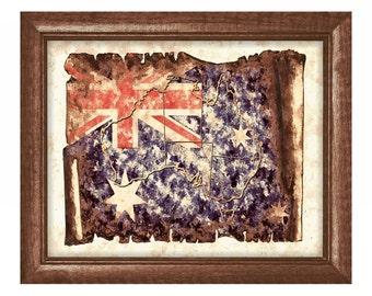 Australia Map Print,Australia Art,Australia Poster,Australian Flag,Australia Wall Art,Australia Wall Decor,Instant Download,Grunge Map,Maps