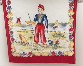 1950's Cotton Dutch boy kitchen towel