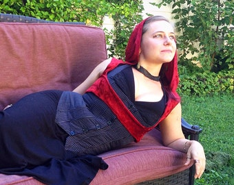 Steampunk Underbust Vest with Hood, Red Crushed Velvet, Little Red Riding Hood Costume