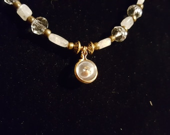 Moonstone and mustard seed pendant necklace