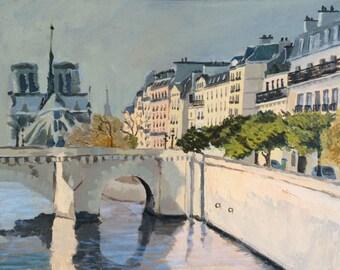 Original Oil Painting, Paris landscape