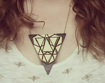 Unsacred Geometry Triangle Woodburn Plaque Necklace
