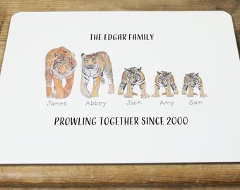 Personalised Tiger Family Placemat