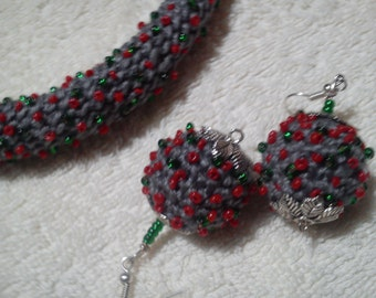 crochet and beaded necklace