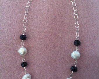 Pearl and Sapphire Wire Wrapped Necklace