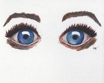 Blue Eyes on Art Paper