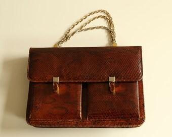 Brown/cognac vintage snakeskin python handbag made in ~1960s