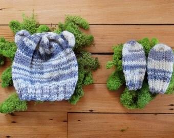 Handmade Knitted Newborn Baby Hat and Mitten Set