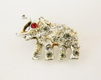 Vintage Elephant Pin Brooch Silver Tone Clear Rhinestones Raised Trunk Figural Estate Costume Jewelry