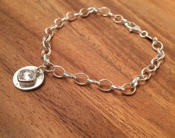 Sterling Silver memorial belcher chain bracelet-silver bracelet-memorial bracelet-925 bracelet-ashes jewelry-British made-memorial jewelry