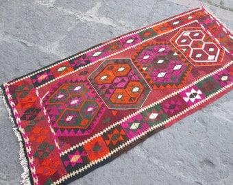 Kurdish Kilim Multi Colors Vintage Kilim Rug Kilim Diamond Desing Kilim