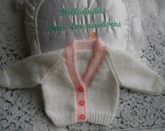 "Hand Knitted White & Pink Baby Cardigan for 8-10lb Newborn Baby or 20"" Reborn Doll"