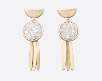 White Shell Iridescent Druzy Earrings | summer tribal earrings | bridal boho wedding jewelry | mother of pearl boho bride statement earrings