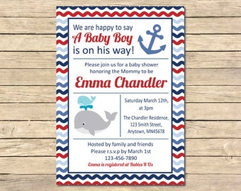 Whale Nautical Baby Shower Invitation, Whale Boy Red Blue Invite, Nautical Baby Shower, Anchor Invite, Printable DIY Invite, Download, 011-A