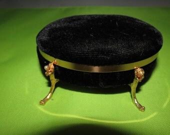 Vintage Black Velvet Jewelry Box