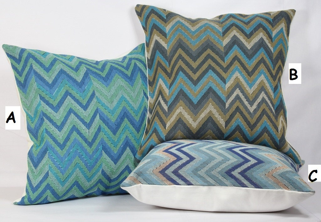Geometric zig zag pillow blue decorative pillows green throw
