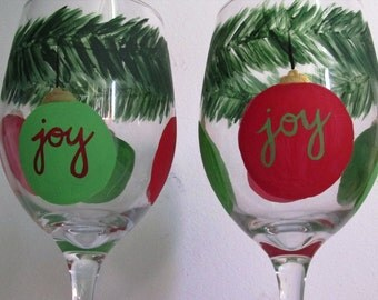 "Hand-Painted Wine Glasses featuring Christmas Ornaments with ""Joy,"" set of 2"