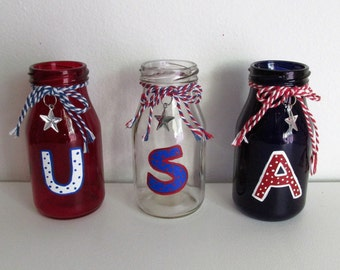 Hand-Painted Red, Clear, and Blue Mini Milk Bottle Jars featuring U.S.A., set of 3